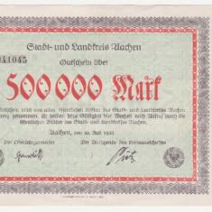 (2) BANCNOTA (NOTGELD) - GERMANIA - AACHEN - 500.000 MARK 1923 (20 IULIE 1923) - FORMAT MAI MARE