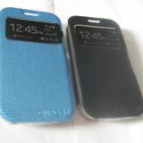 Husa Alcatel One Touch Pop C5 OT-5036D S-VIEW - NU MAI ESTE NECESAR DESCHIDEREA CAPACULUI -NEGRU ALB -ALBASTRU