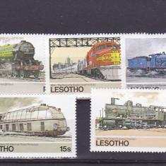 Locomotive, transporturi, Lesotho. - Timbre straine