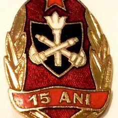 ROMANIA RPR INSIGNA MILITARA POMPIERI POMPIER 15 ANI - 30 x 20 mm RARA **, Romania de la 1950