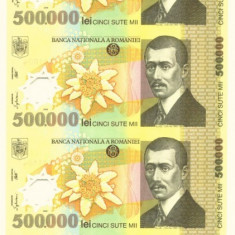 COALA 4 BUCATI 500000 500 000 LEI BNR GUVERNATOR GHIZARI CU CERTIFICAT - Bancnota romaneasca