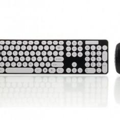 Tastatura si Mouse optic Wireless Keyboard, BLACK, Mini tastatura, Fara fir, Bluetooth