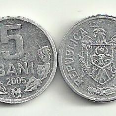 MOLDOVA 5 BANI 2005 [1] livrare in cartonas, Europa, Aluminiu