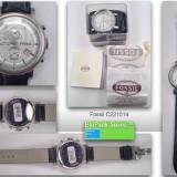 Ceas de mana Fossil c221014 analog nou curea din piele cadran alb 46 mm diametru original in cutie cu instructiuni si bonul de casa fashion watch - Ceas barbatesc Fossil, Quartz, 2000 - prezent