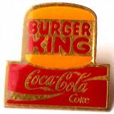T2. INSIGNA TIP PIN BURGER KING COCA COLA COKE - dimensiune 25 x 24 mm **