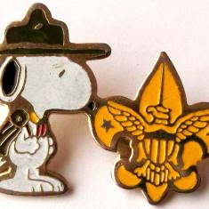 T2. INSIGNA PIN CERCETASI CANADA SI SUA USA Scouts of America, 35 x 26 mm **, America de Nord