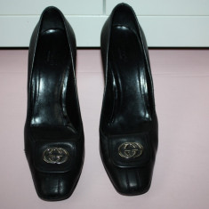Pantofi piele naturala GUCCI originali SUA - Pantof dama Gucci, Culoare: Negru, Marime: 40