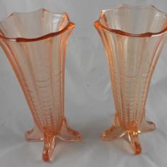 VALOROASE VAZE STICLA CRISTAL LAMBERT ROZ ART DECO VAZA FACUTA MANUAL DUPA 1920 - Vaza sticla
