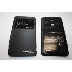 Husa Flip Cover S-View Huawei G750 neagra - Husa Telefon Huawei, Negru, Piele Ecologica
