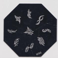 Matrita metalica modele unghii, pt stampila, disc hexagonal din metal, model M96 - Decoratiuni unghii