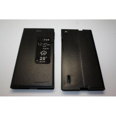 Husa Flip Cover S-View Huawei Ascend P7 neagra foto