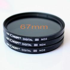 Set 3 filtre ND2 ND4 ND8 pe 67mm + bonus laveta din microfibra pentru stergerea lentillelor, Nikon, Canon, Pentax, Sony, Olympus, etc. - Filtru foto, 60-70 mm, Altul