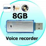 Stick Reportofon Spionaj 8GB | Autonomie 18 ORE|100 ORE Inregistrare, GARANTIE!, 8 GB
