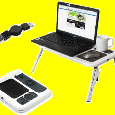 E table Masa Masuta Suport notebook laptop 2 coolere + mouse pad suport pahar - Masa Laptop