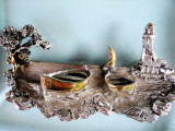 Cumpara ieftin Art deco Marina argintata si aurita pe rama sticla Murano