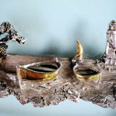 Art deco Marina argintata si aurita pe rama sticla Murano