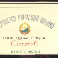 HARTA TURISTICA SI AUTOMOBILISTICA A REPUBLICI POPULARE ROMANE ONT CARPATI