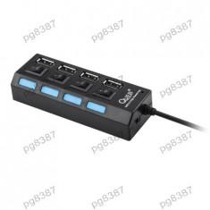 HUB USB, 4 porturi, cu intrerupator, Quer - 401130