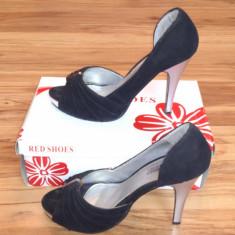 Pantofi cu toc inalt si platforma - Pantof dama, Culoare: Negru, Marime: 37, Piele intoarsa