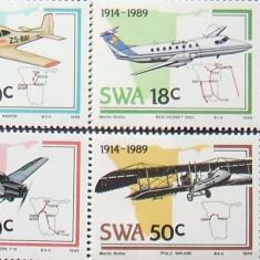 S. W. AFRICA 1989 - AVIATIE 4 VALORI, NEOBLITERATE - AS 108