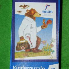 Puzzle pentru copii 40 piese, cu ursulet doctor, complet, de buna calitate, german,