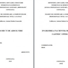 LUCRARE DE LICENTA A.M.G. - INGRIJIREA PACIENTULUI CU ULCER GASTRIC OPERAT