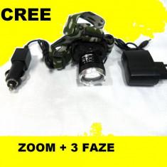 CREE LED Lanterna de cap FRONTALA puternica 3 Faze + Incarcator auto + retea