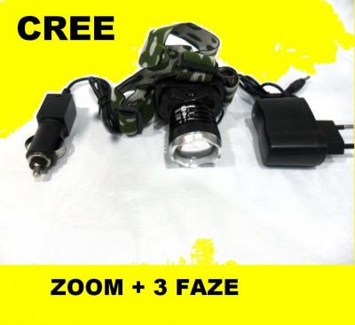 CREE LED Lanterna de cap FRONTALA puternica 3 Faze + Incarcator auto + retea foto