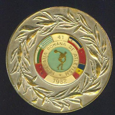 MEDALIE*PLACHETA*ATLETISM*FEDERATIA ROMANA DE ATLETISM*JOCURILE BALCANICE SENIORI BUCURESTI-ROMANIA 1982