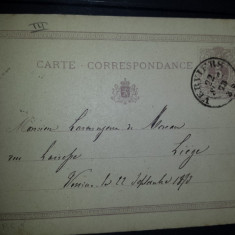 Carte postala circulata Belgia 1873 Veriers Liege
