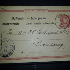 Carte postala circulata Germania 1888 Kalk Luxembourg