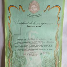 CERTIFICAT DE BUNA APRECIERE IN SERVICIUL MILITAR 1982