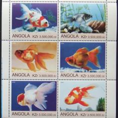 ANGOLA 2000 - PESTI DE ACVARIU, 1 M/SH NEOBLITERATA, POSTA PRIVATA - PP 257, Arta