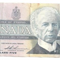 CANADA 5 DOLARI 1986 U - bancnota america