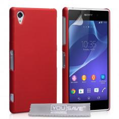 HUSA PLASTIC CAUCIUCAT SONY XPERIA Z2 BONUS FOLIE PROTECTIE - Husa Telefon Sony, Rosu