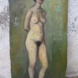 Nud in picioare, pictura veche, ulei pe carton - Pictor roman