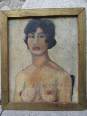 Nud , portret de tanara , ulei pe carton , pictura veche foto