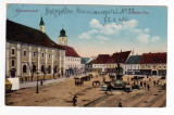 SIBIU PIATA MARE-HERMANNSTADT -NAGYSZEBEN ,STATUIE,CARUTE,1916, Circulata, Printata