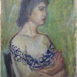 Nud, portret de tanara, ulei pe carton, pictura veche - Pictor roman