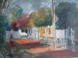 Peisaj la tara , acuarela de Bene Jozsef - pictor clujean Bene Iosif, Peisaje, Realism