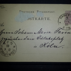CP 1885 Germania Hagen Koln, Circulata