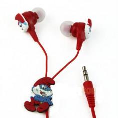 Casti telefon Smurfs strumfi stereo ear drops, Casti In Ear, Cu fir, Mufa 3,5mm