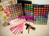 Promotie trusa machiaj profesionala MAC 180 culori paleta farduri + set 7 pensule make up Megaga + eye liner tus negru lichid + Punga ambalaj, Mac Cosmetics