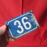 Placuta veche cu numar de casa, placuta veche de tabla - Metal/Fonta