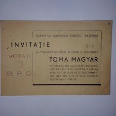 Invitatie la concertul de vioara al marelui violonist Toma Magyar dat in scopul ajutorarii regiunilor bantuite de seceta