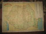 Harta mare turistica Romania RSR, stare generala buna
