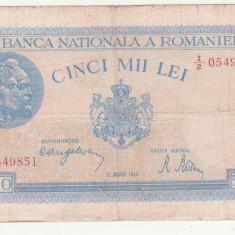 BANCNOTA ROMANIA - 5.000 LEI 1944 (22 AUGUST 1944), RARA, EROARE - FILIGRAN TRAIAN DEPLASAT - SE VINDE LA PRET FINAL - Bancnota romaneasca
