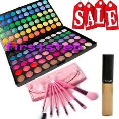 Trusa machiaj Mac Cosmetics 120 culori MAC + anticearcan camuflaj + set 7 pensule make up