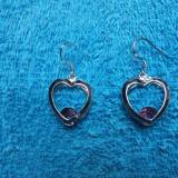 Cercei dama argint 925 model Pink Heart - Cercei argint