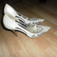 Pantofi mireasa - Pantof dama, Culoare: Bej, Marime: 39, Piele naturala